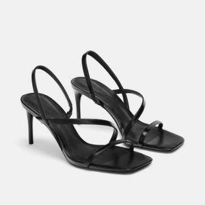 Zara Black mid height heeled Strappy Sandals